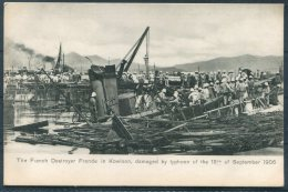 Hong Kong China Kowloon French Destroyer Fronde Damaged By Typhoon 18th September 1906 Sternberg Postcard - China (Hong Kong)