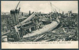 Hong Kong China Kowloon French Destroyer Fronde Damaged By Typhoon 18th September 1906 Sternberg Postcard - Cina (Hong Kong)
