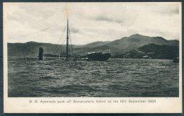 Hong Kong S.S. Apenrade Sunk Off Stonecutters Island 18th September 1906 Sternberg Postcard - Cina (Hong Kong)