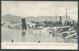 Hong Kong The Canton Steamer San Cheong Sunk By Typhoon 18th September 1906 Sternberg Postcard - Cina (Hong Kong)
