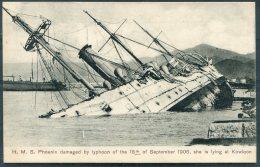 Hong Kong HMS Phoenix Damaged By Typhoon Kowloon 18th September 1906 Sternberg Postcard - China (Hong Kong)