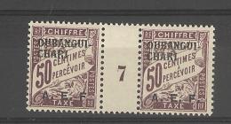 Oubangui_ Millésimes -  Taxe-  Sans Point Apres Le F- Surchargé  A.E.F. N° 7 (1927 )_