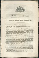 1845 Patent  Document 'Raising And Lowering Lamps, Chandeliers Etc'  John Finlay Glasgow Scotland - Decreti & Leggi