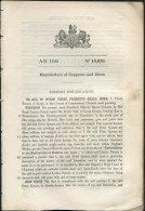 1845 Patent  Document 'Manufacture Of Copperas And Alum' Peter Spence, Chemist, Burgh, Cumberland - Decreti & Leggi