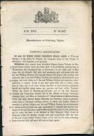 1845 Patent  Document 'Manufacture Of Printing Types' William Newton - Decrees & Laws
