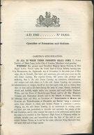 1845 Patent  Document 'Cyanides Of Potassium And Sodium' James Laming, Mark Lane, City Of London - Decrees & Laws