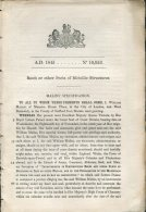 1845 Patent  Document ' Roofs Or Other Parts Of Metallic Structures' William Malins, West Bromwich, Stafford - Decrees & Laws