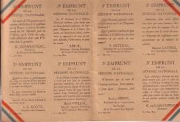 14-18 Publicité Pour Le 3e Emprunt De La Défense Nationale FRANCE Sur Carton, 4 Faces, Format Poche - 1914-18