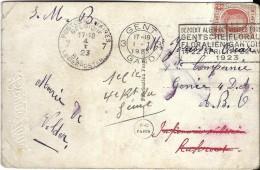 _6ik-941: N° 192:  3 GENT 3 Gand  ..Gentse Floraliën...1923 > A.B.6 Legerpost >> 7 PMB 7 BLP 4 I 23 >> Doorgestuurd  Inf - Postmark Collection