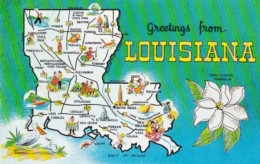 Greetings From Louisiana With Map - Maps