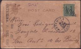 """1905-H-65 CUBA REPUBLICA. 1c POSTCARD DE ARTEMISA A SAN ANTONIO DE LOS BAÑOS. MARCA """"ARTEMISA. PINAR DEL RIO"""". RARE. - Cuba"""