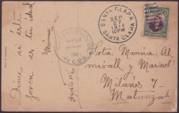 1910-H-80 CUBA REPUBLICA. 1c POSTCARD DE SANTA CLARA TO MATANZAS. 1911. - Cuba