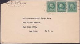 1917-H-318 CUBA REPUBLICA. 1c PATRIOTAS. UNITED FRUIT Cº PRESTON COVER. - Lettres & Documents