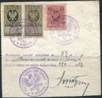 Poland Polen Pologne JAROSLAW 1925-1927 Revenue Fiscal Tax Stempelmarke Used On Piece (3) - Revenue Stamps