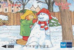 Carte Japon - Comics - NOEL - OURS PADDINGTON / Bonhomme De Neige - TEDDY BEAR Japan Metro Card - BÄR Karte - 370 - Japon