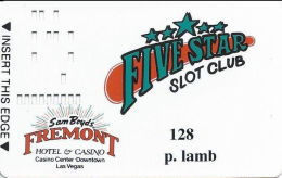 Fremont Casino Las Vegas, NV - Slot Card - Slot Club In Black - Printed Player Info - Player #128 - Casino Cards