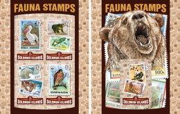 SOLOMON ISLANDS 2016 ** Fauna Stamps Tier Briefmarken M/S+S/S - OFFICIAL ISSUE - A1631 - Postzegels Op Postzegels
