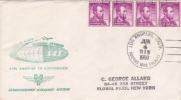 United States 1960 Inaugural Jet Flight Polar Route Los Angeles To Copenaghen, By SAS Souvenir Cover - Enveloppes évenementielles