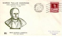 FDC Chimera : CICERONE 1957; No Viaggiata ; Annullo Formia - 1946-.. Republiek