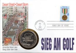 "(Gm3)Numisbrief""SIEG AM GOLF"" ESSt.1.3.2007WASHINGTON 5$ MARSHALL ISLAND 1991(Gedenkmünze Desert Storm)+29Cent USA1991 - Isole Marshall"