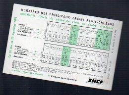 (SNCF) Horaire 1968 Trains Paris-orléans  Et Retour (PPP3829) - Europe