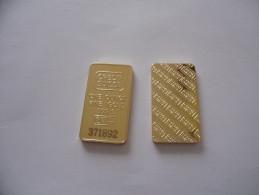 LINGOTTI CREDIT SUISSE ONE OUNCE IN FINE GOLD 999 PLACCATO ORO 24k DA COLLEZIONE - Monete & Banconote