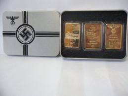 LINGOTTI TERZO REICH ONE OUNCE IN FINE GOLD 999 PLACCATO ORO 24k DA COLLEZIONE - Monete & Banconote