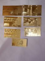 LOTTO BANCONOTE 5-10-20-50-100-200-500€ IN FOGLIA D'ORO 24KT GOLD - Coins & Banknotes
