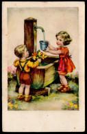 5882 - Alte Glückwunschkarte - Geburtstag Kinder Blumen - Erika - Geburtstag