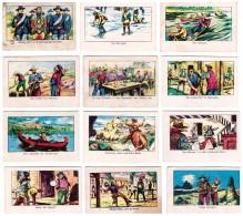 Lot Of 12 KAUGUMMI SAMMELBILDER Indianer, Cowboys , Pirates - LA GIULIA GORIZIA BUBBLE GUM About 1970 - Alte Papiere