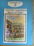 1457- Suisse Tessin  Merlot Del Ticino Vecchia Masseria 1987 - Etiquettes