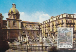 D25150 CARTE MAXIMUM CARD 1973 ITALY - PRETORIA FOUNTAIN PALERMO CP ORIGINAL - Architecture