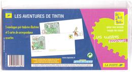 TINTIN - 5 PAP Prêt à Poster - 5 Enveloppes Pré-timbrées Illustrées Et 5 Cartes De Correspondance - Enteros Postales