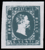 Italia: Antichi Stati - Sardegna - Effige Vittorio Emanuele II - 20 C. Azzurro - 1851 (B) - Sardegna