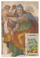 D25174 CARTE MAXIMUM CARD 1971 YEMEN - SYBILLA BY MICHELANGELO CP ORIGINAL - Arts