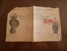 Lettre Publicitaire Illustrée Grand Format Manufacture De Lampes Et Lanternes Beaudouin Et Trilles Bordeaux En L'état - Advertising