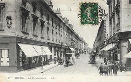 Tours - La Rue Nationale - Belle Animation: Attelages - Carte LL N°97 - Tours