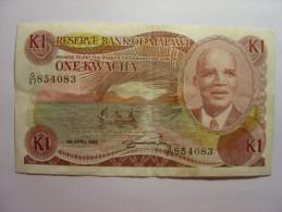 MALAWI - ONE 1 KWACHA - 1er AVRIL 1988  APRIL 1st - Billet Bank Note TABAC TOBACCO - Circulé TBE - KAMUZU BANDA - Malawi