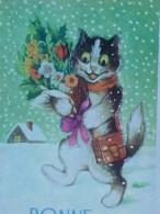 Cpa  CHAT Humanisé Dans La NEIGE , BONNE ANNEE , FLEURS ,dressed  CAT KITTEN In Snow  Recto Verso Prix Fixe - Animaux Habillés