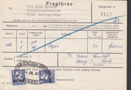 Denmark Postfærge Post Ferry 2x 90 Øre Frederik IX. Fragtbrev Freight Letter To Fanø 1971 FANØ - ESBJERG FÆRGERI - Parcel Post