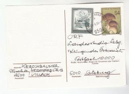 1991 Villach AUSTRIA 50g TIROL Stamps On UPRATED 4s FUNGI POSTAL STATIONERY CARD Cover Mushrooms - Stamped Stationery