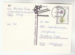 1989 Graz AUSTRIA 5s FLOWER Postal STATIONERY CARD SLOGAN Pmk Winter Sonnen Schnee Vergnugen Steiremark Cover Stamps - Stamped Stationery