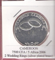 CAMEROON 7500 CFA 2006 2 WEDDING RINGS SILVER PLATED UNC NOT IN KM - Cameroun