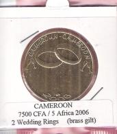 CAMEROON 7500 CFA 2006 2 WEDDING RINGS BRASS GILT UNC NOT IN KM - Cameroun