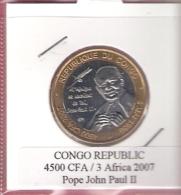 CONGO REP. 4500 CFA 2007 POPE JOHN PAUL II BIMETAL UNC NOT IN KM - Congo (République 1960)