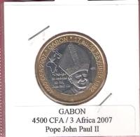 GABON 4500 CFA 2007 POPE JOHN PAUL II BIMETAL UNC NOT IN KM - Gabon