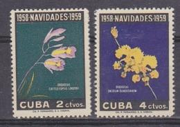 Cuba 1959 Navidades / Flowers 2v * Mh (=mint;, Hinged) (31733) - Cuba
