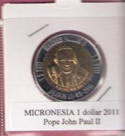 MICRONESIE 1 DOLLAR 2011 POPE JOHN PAUL II BIMETAL UNC NOT IN KM ZONDER 4 STERREN - Micronesia
