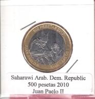 SAHARA ARAB.REP. 500 PESETAS 2010 POPE JOHN PAUL II BIMETAL UNC NOT IN KM - Monnaies