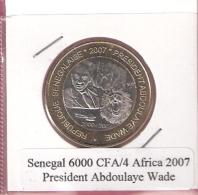SENEGAL 6000 CFA 2007 PRESIDENT ABDOULAYE WADE BIMETAL UNC NOT IN KM - Senegal